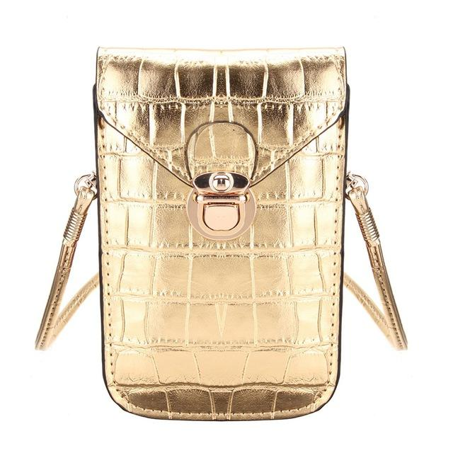 Mini Crocodile Phone Clutch Shoulder Bag Shoulder Bags CNY Trade Co.,Ltd Gold