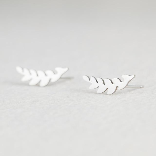 Silver Stainless Steel Super Cute Minimalist Geometric Stud Earrings Collection Stud Earrings Shine Lives Store Leaf