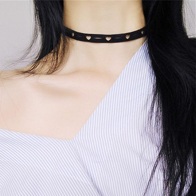 The Minimalist Old France Sexy Collier Lace Flower Elastic Vintage Choker Necklaces Collection Choker Necklaces QBH Jewelry Co.,Ltd min order $1 Kawaii Tiny Hollow Hearts