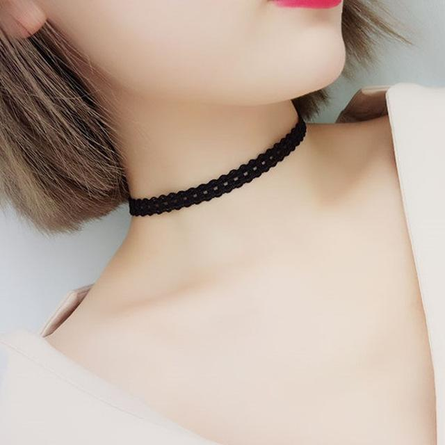 The Minimalist Old France Sexy Collier Lace Flower Elastic Vintage Choker Necklaces Collection Choker Necklaces QBH Jewelry Co.,Ltd min order $1 Hollow Circles