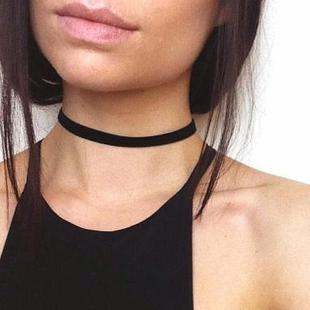 The Minimalist Old France Sexy Collier Lace Flower Elastic Vintage Choker Necklaces Collection Choker Necklaces QBH Jewelry Co.,Ltd min order $1 Ultra Minimalist Thick Band
