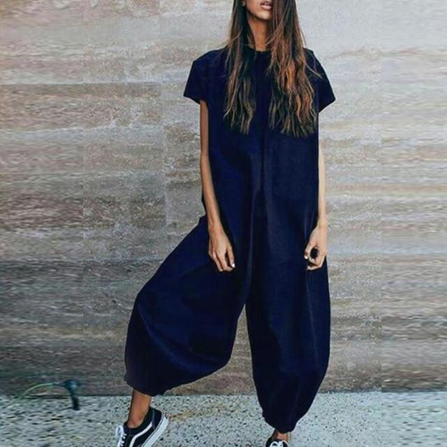 The 100% Cotton Casual Jumpsuit Jumpsuits YUYU Clothes Store Navy S