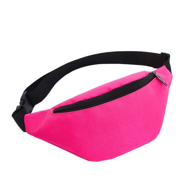 Colour Block Canvas Waist Chest Bag Waist Packs AIREEBAY Store Pink
