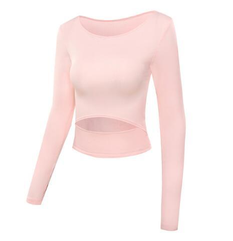 The Slit Crop Yoga Long Sleeve T-Shirt Yoga Shirts eSports Store Pink S
