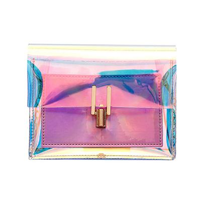 The Shiny Laser Transparent Crossbody Shoulder Messenger Bag Shoulder Bags Noocuxuekon Store Pink