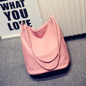The Bucket Shopping Large Shoulder Crossbody Tote Leather Bag Shoulder Bags Yogodlns Official Store Pink