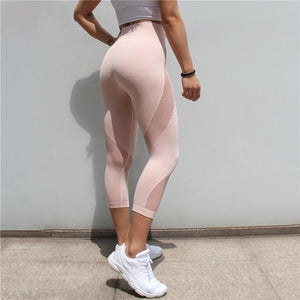 The All-Season 3/4 Length Seamless Mesh Tummy Control Runners' and Yogis' Capri Leggings Yoga Pants COLORVALUE Official Store Pink S