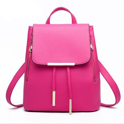 The Minimal School Rucksack Backpack Backpacks Rusoonnic Store Rose Pink