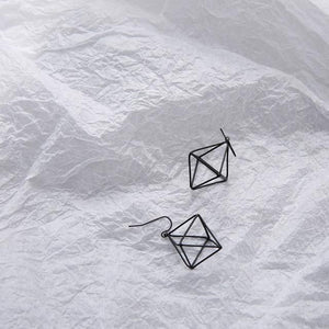 The 3D Geometric Architectural Art Sculpture Hollow Polygon Minimalist Earrings Collection Drop Earrings AllAccessories Online Store Small Black1