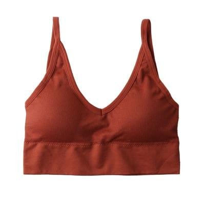 The Comfy Cotton Push Up Wireless Padded Seamless Backless Bralette Bras Milay Store Caramel (1 pcs)