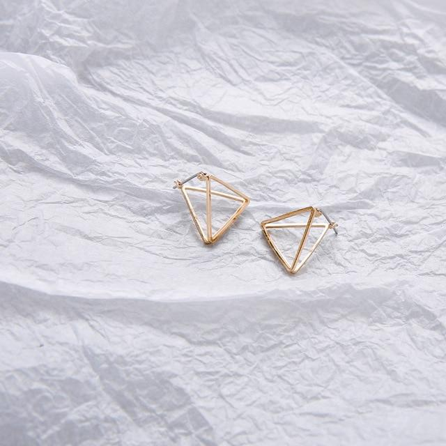 The 3D Geometric Architectural Art Sculpture Hollow Polygon Minimalist Earrings Collection Drop Earrings AllAccessories Online Store Small Gold