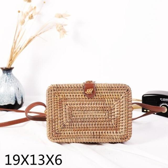 The Bali Island Handmade Woven Rattan Straw Bohemian Shoulder Crossbody Bag Collection Shoulder Bags AOILDLLI Official Store Natural Rectangle Box (19cm x 13cm x 6cm)