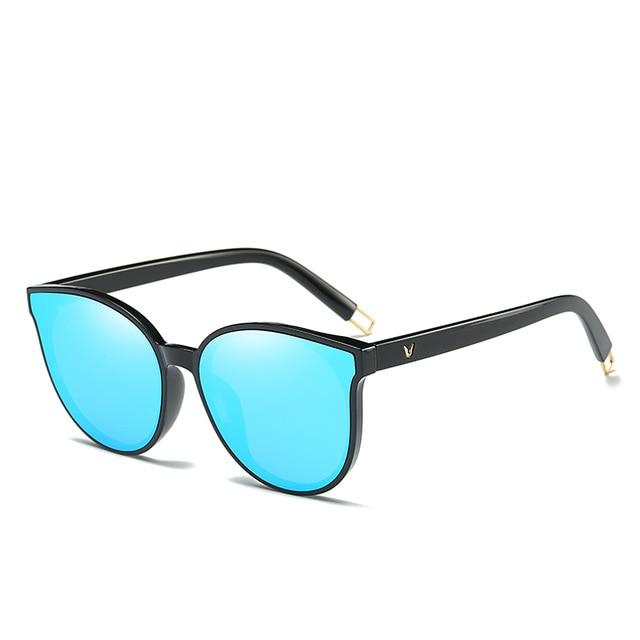 The Luxe Flat Top Oversized Cat Eye Sunglasses Women's Sunglasses ProudDemon Official Store black blue