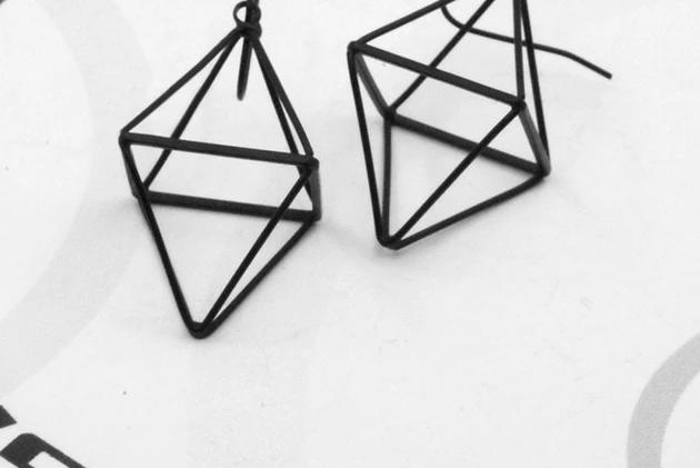 The 3D Ultra Contemporary Polygon Stud Earrings Collection Stud Earrings Cos Store Black Rhombus