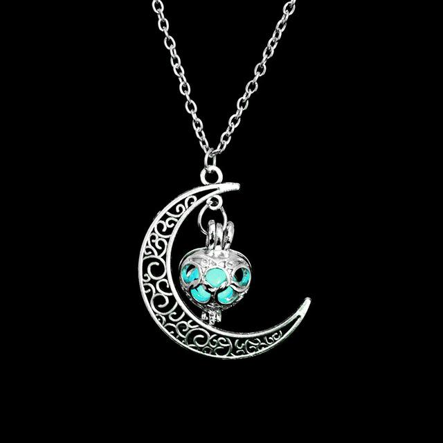 The Enchanted Sun Light Charging and Glowing Gem Stone Moon Charm Necklace Pendant Necklaces FAMSHIN Official Store Blue Green Classic