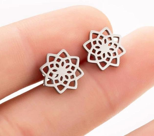 The Assorted Colors Allergen-Free Non-Toxic Stainless Steel Super Cute Minimalist Geometric Stud Earrings Collection Stud Earrings SMJEL Official Store Silver Sacred Geometry Gold