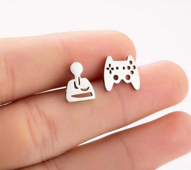 The Assorted Colors Allergen-Free Non-Toxic Stainless Steel Super Cute Minimalist Geometric Stud Earrings Collection Stud Earrings SMJEL Official Store Silver Video Game Controllers Gold