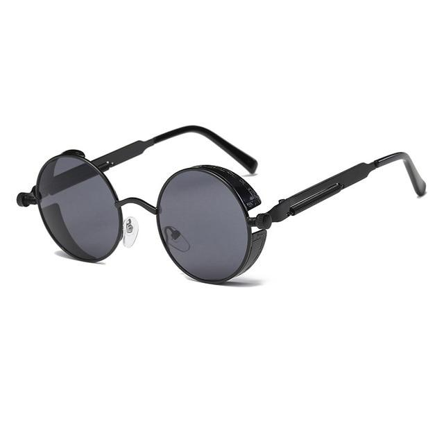 The Vintage Silent Black and White Movies Round Steampunk Metal Sunglasses Men's Sunglasses MOLNIYA Official Store 1