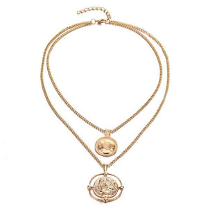 The Bohemian Gladiator Vintage Retro Medallion Coin Double Layer Golden Pendant Necklace Pendant Necklaces AILEND Official Store Gold