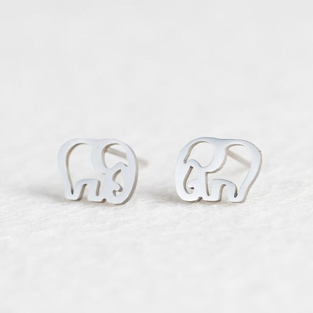 Silver Stainless Steel Super Cute Minimalist Geometric Stud Earrings Collection Stud Earrings Shine Lives Store Elephant