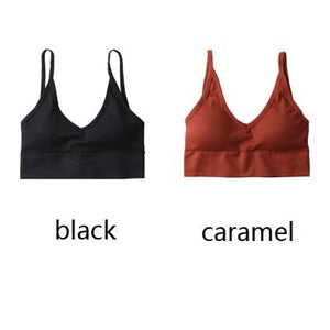 The Comfy Cotton Push Up Wireless Padded Seamless Backless Bralette Bras Milay Store Black + Caramel Set (2 pcs)