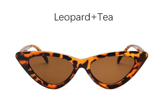 The Oh So Dramatic Triangular Cat Eye Vintage Retro Sunglasses Women's Sunglasses Shop3478042 Store Leopard Tea