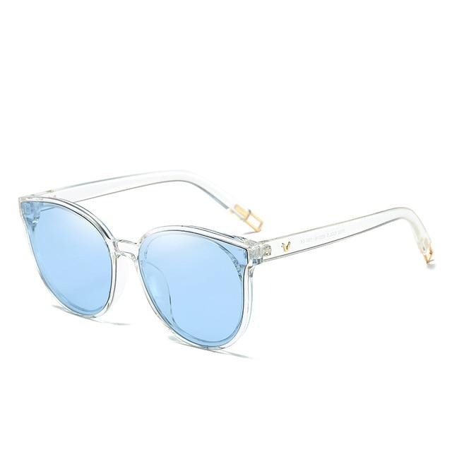 The Luxe Flat Top Oversized Cat Eye Sunglasses Women's Sunglasses ProudDemon Official Store blue clear
