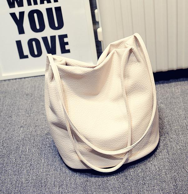The Bucket Shopping Large Shoulder Crossbody Tote Leather Bag Shoulder Bags Yogodlns Official Store Beige
