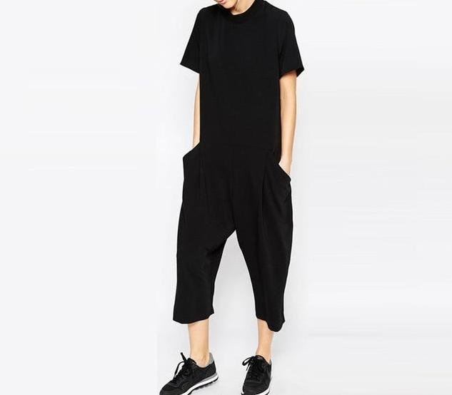 Black Summer Cotton Romper Jumpsuits Panney Qin Store Black S