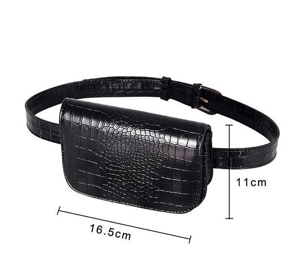 Vintage Alligator Waist Bag Waist Packs DBFashion Store Black (Small)