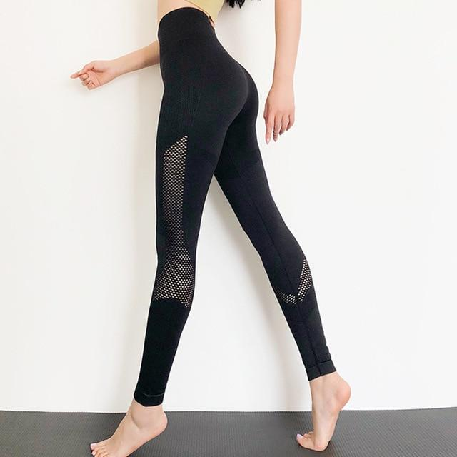 The Meshy High Waist Seamless Yoga Dance Leggings Yoga Pants Le Nakai Official Store Dark Black Moon S