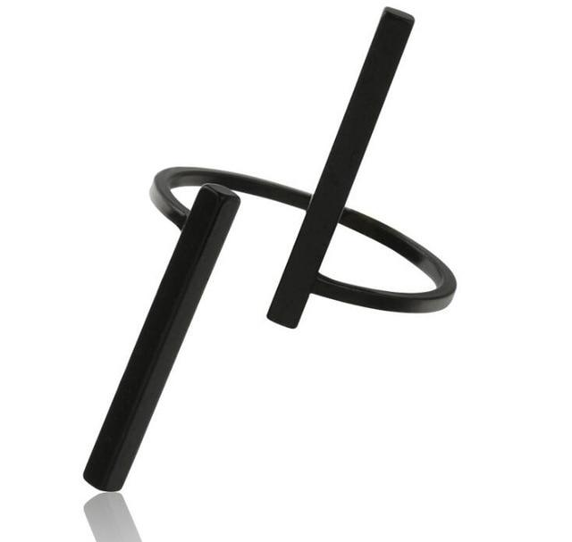 The Unisex Minimalist Architectural Sculpture Art Simple Linear Open Bar Mood Tracker Geometry Free Size Ring Rings TimLee Official Store Black