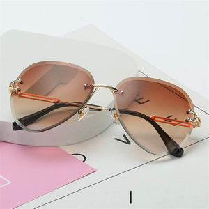 The Invisible Floating Rimless Frameless Gradient Tint Sunglasses Women's Sunglasses Shop4087002 Store Brown