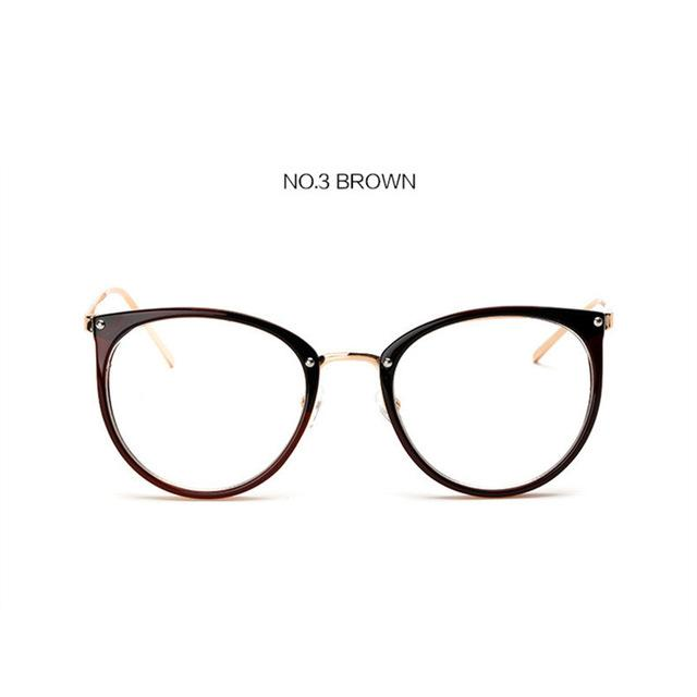 The Kaleidoscope Oversized Cat Eye Glasses Frames Women's Eyewear Frames Kaleidoscope Store Brown