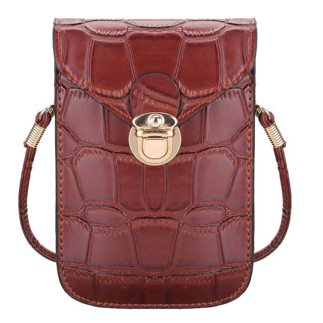 Mini Crocodile Phone Clutch Shoulder Bag Shoulder Bags CNY Trade Co.,Ltd Brown