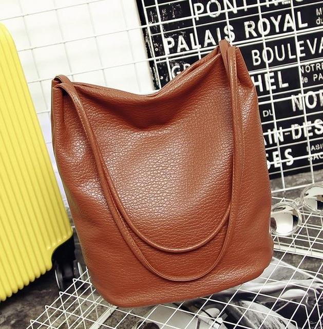 The Bucket Shopping Large Shoulder Crossbody Tote Leather Bag Shoulder Bags Yogodlns Official Store Camel