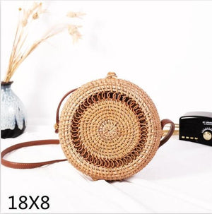 The Bali Island Handmade Woven Rattan Straw Bohemian Shoulder Crossbody Bag Collection Shoulder Bags AOILDLLI Official Store Tiramisu (18cm x 8cm)