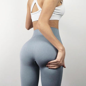 The Staple High Waist Seamless Pants Sports Yoga Leggings Yoga Pants hearuisavy Official Store Silver Gray XS