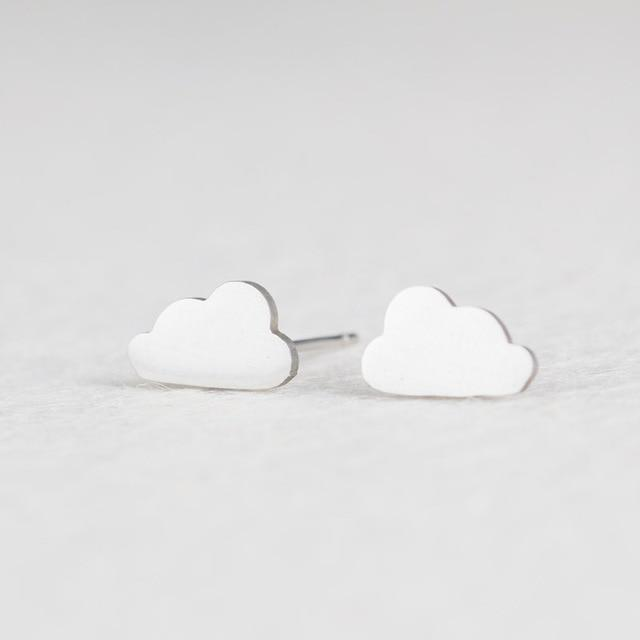 Silver Stainless Steel Super Cute Minimalist Geometric Stud Earrings Collection Stud Earrings Shine Lives Store Cloud