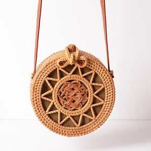 The Bali Island Handmade Woven Rattan Straw Bohemian Shoulder Crossbody Bag Collection Shoulder Bags AOILDLLI Official Store Natural Star Emblem w. Bow (20cm x 8cm)