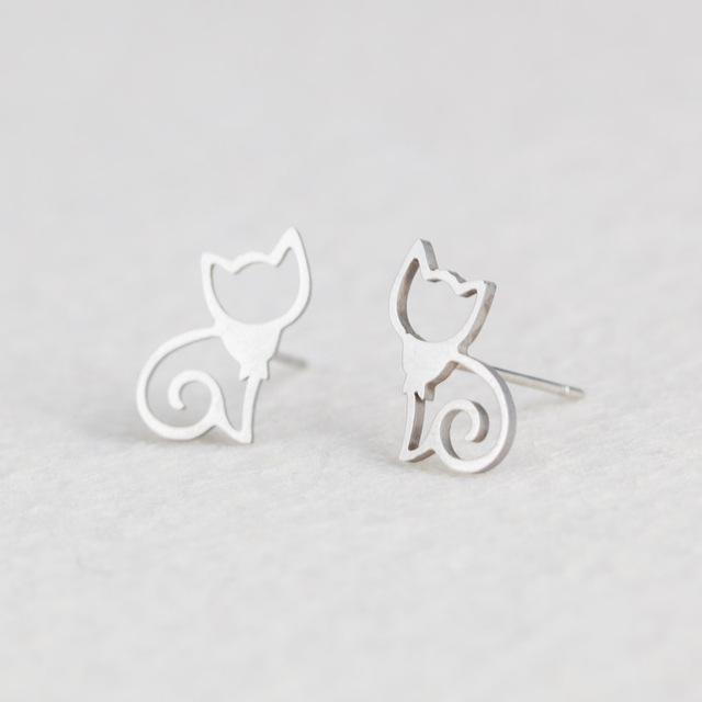 Silver Stainless Steel Super Cute Minimalist Geometric Stud Earrings Collection Stud Earrings Shine Lives Store Cat