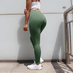 The Staple High Waist Seamless Pants Sports Yoga Leggings Yoga Pants hearuisavy Official Store Green XS