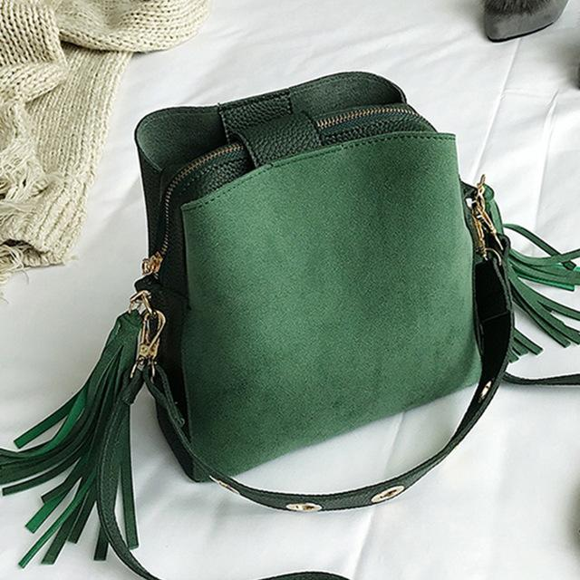 Vintage Bucket Retro Tassel Shoulder Crossbody Tote Bag Top-Handle Bags JMING's HE Decor Store Green