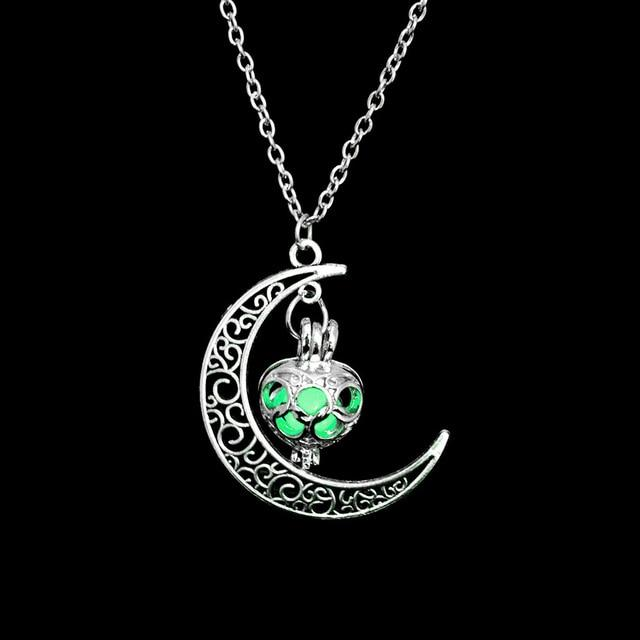 The Enchanted Sun Light Charging and Glowing Gem Stone Moon Charm Necklace Pendant Necklaces FAMSHIN Official Store Green Classic