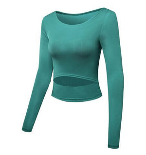 The Slit Crop Yoga Long Sleeve T-Shirt Yoga Shirts eSports Store Green S