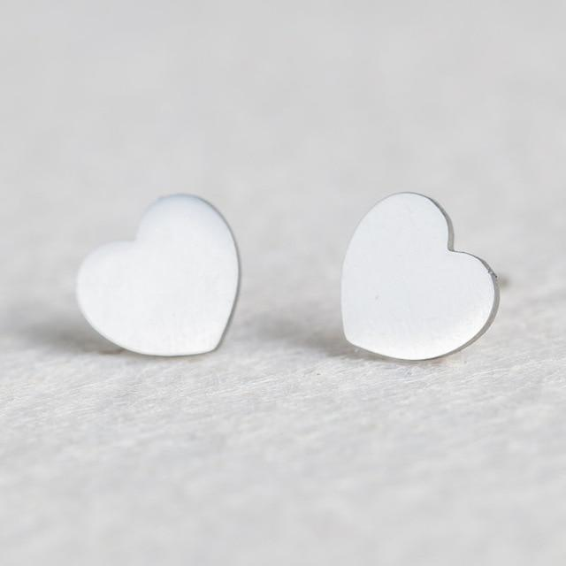 Silver Stainless Steel Super Cute Minimalist Geometric Stud Earrings Collection Stud Earrings Shine Lives Store Heart
