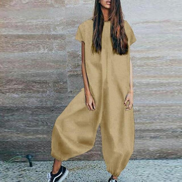 The 100% Cotton Casual Jumpsuit Jumpsuits YUYU Clothes Store Khaki S
