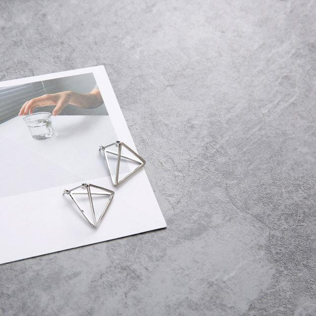 The 3D Geometric Architectural Art Sculpture Hollow Polygon Minimalist Earrings Collection Drop Earrings AllAccessories Online Store Small Silver