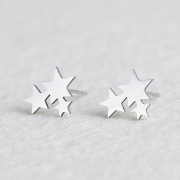 Silver Stainless Steel Super Cute Minimalist Geometric Stud Earrings Collection Stud Earrings Shine Lives Store Stars