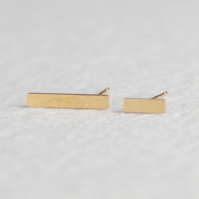 Golden Stainless Steel Super Cute Minimalist Geometric Stud Earrings Collection - HABIT